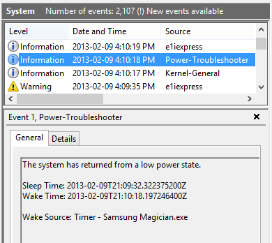 Event Viewer: Power-Troubleshooter event