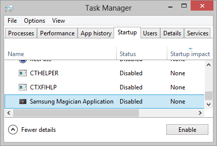 Task Manager: Startup Tab
